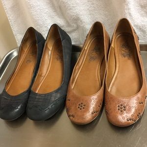 Nine West flats leather size 10 — 2 pair
